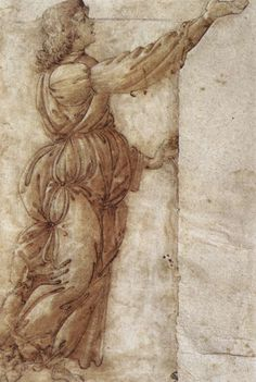 BOTTICELLI, Sandro  Angel  c. 1490  Chalk, traced with pen, washed and heightened with white, 266 x 165 mm  Galleria degli Uffizi, Florence