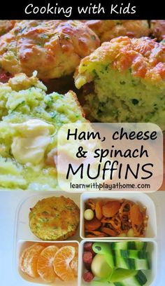 Learn with Play at Home: Ham, Cheese and Spinach Muffins. Cooking with Kids