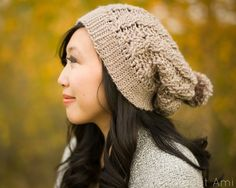 Free crochet pattern: Cabled Slouchy Beanie with tutorial by All About Ami