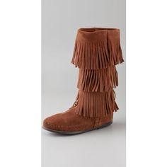 Minnetonka 3 Layer Fringe Boots ($90) ❤ liked on Polyvore