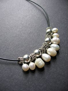 Pearl Necklace. Leather Pearl Necklace by SimpleElementsDesign