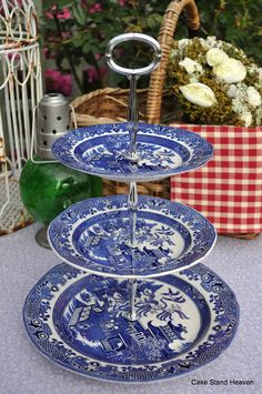 Grace Tea Ware Cake Stand   ... and White Burleigh Willow Pattern Plates New 3 Tier Cake Stand to buy