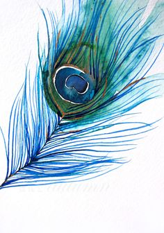 Gift for Her  Watercolor Painting  Peacock Feather  door MaiAutumn, $30.00