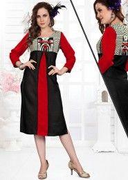 Casual Wear Black Rayon Printed Kurti