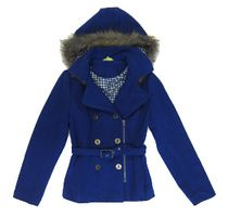 Topping up for winter in this stylish blue hooded jacket