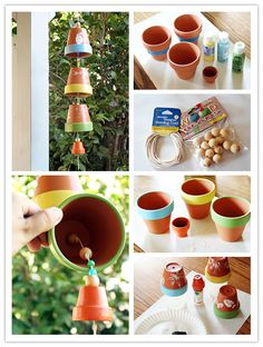 How to make wind chimes with planting pots Clay Pot Projects, Clay Pot Crafts, Diy And Crafts, Crafts For Kids, Diy Projects, Flower Pot Crafts, Flower Pots, Carillons Diy, Make Wind Chimes
