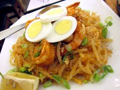 Pancit Palabok, I'd love to make this with spaghetti squash instead of rice noodles. The dish kicks ass!
