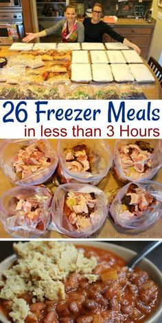 Making 26 Freezer Meals in 3 Hours - One Hundred Dollars a Month I picked up my 40 pound box of Zaycon chicken the other day and quickly decided that since my only options for running water at our house wa Budget Freezer Meals, Freezer Friendly Meals, Slow Cooker Freezer Meals, Make Ahead Freezer Meals, Crock Pot Freezer, Freezer Cooking, Easy Meals, Chicken Freezer Meals, Cooking Time
