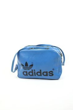 VTG 70s Deep TURQUOISE Adidas Overnight Travel Bag // Carry On Double Compartment Weekender Case
