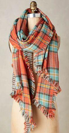cozy orange plaid scarf