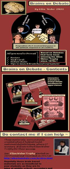 Empower your students by teaching them to engage both sides of topics that impact their world. Debate at the peaks with hands-on materials in this packet. As noted by the Ellen Weber Trophy for 1st Place Winners at albertadebate.com... I helped found this wide national movement to facilitate great debate skills for teens and young adults. These materials worked so well that debate numbers grew like mushrooms back in the 1970's (especially in inner schools) through autonomy.