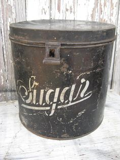 Large VINTAGE SUGAR TIN canister  black and by oldetymemarketplace, $33.95