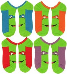 Four Pack of Ninja Turtles Face Socks #TMNT