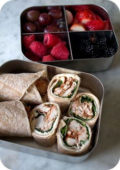 "Easy lunch box ideas: barbecue chicken ""sushi"" with fresh basil; raspberries; strawberries; grapes; and blackberries. http://www.LunchBoxBlu..."