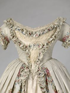 Evening dress of Queen Victoria, 1851.  Silk and lace;