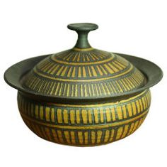 Lidded stoneware serving dish by Raul Coronel
