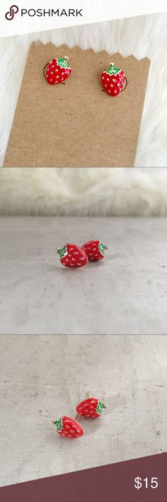 "💥 FLASH 💥 Strawberry 🍓 Studs PERFECT! Super sweet enameled strawberry 🍓 studs. Features detailed greens and subtle rosy gold speckled seeds and backing. A must-have for fun and stylish girls. 1/2"" x 3/8"" Jewelry Earrings"