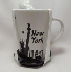New York Cityscape Skyline Coffee Tea Cup Mug Lid Coaster 14 oz Black White New #SignatureHousewares