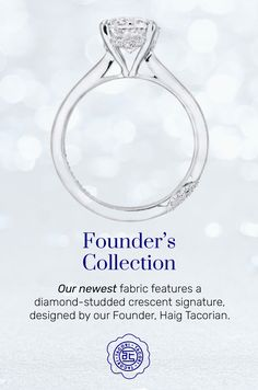 Our founder, Haig Tacorian, has designed an entirely new diamond-studded way to sign the ring at the foundation. The Founder's Ring offers clean lines and the elegant simplicity of a classic solitaire. #Tacori #TacoriRing #solitairering #details #engagementring Tacori Rings, Tacori Engagement Rings, Solitaire Ring, Diamond Studs, Diamond Rings, Clean Lines, Foundation, Vintage Fashion, Elegant