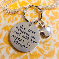 A personal favorite from my Etsy shop https://www.etsy.com/listing/277160358/aunt-niece-necklace-mother-daughter