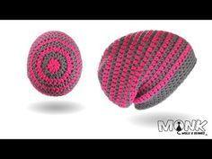 Mütze häkeln mit Rosenstäbchen und Farbwechsel - halbe Stäbchen im Zickzack Muster - Long Beanie - YouTube