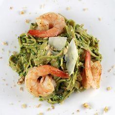 Arugula Walnut Pesto Shrimp Pasta Recipe