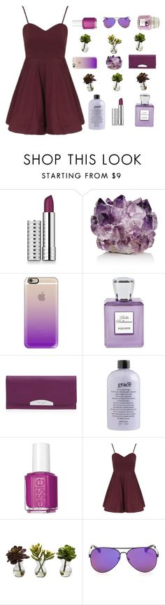 """""""Plum"""" by monicahayde ❤ liked on Polyvore featuring Clinique, McCoy Design, Casetify, Bella Bellissima, Henri Bendel, philosophy, Essie, Topshop, Nearly Natural and Hallmark"""