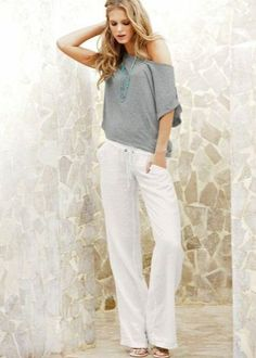 White Linen Trousers, good or bad? - White Linen Trousers, good or bad? White Linen Trousers, White Jeans, Linen Pants Outfit, Linen Blouse, Strand, Casual Pants, Off Shoulder Blouse, Pants For Women, Outfits