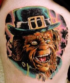 Leprechaun from the movie, great detail in this portrait from the . Movie Tattoos, Horror Tattoos, Leprechaun Movie, Pretty Good, Tatting, Pop Culture, Creepy, Appreciation, Irish