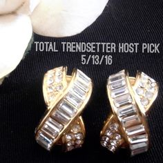 """Vintage Christian Dior Rhinestone Clip Earrings Gorgeous vintage Christian Dior clip earrings.  Gold tone with pave set baguette and round rhinestones.  They measure about 3/4"""".  The back of the clips are signed Chr. Dior.  No trades. Dior Jewelry Earrings"""
