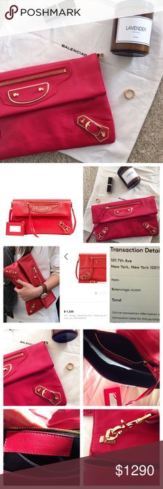 🆕 Balenciaga red metallic edge clutch Brand new. Original tag and dust bags are available and shown in the last photo. Chic and edgy! Also the best thing about this clutch is it comes with a strap. Balenciaga Bags Clutches & Wristlets