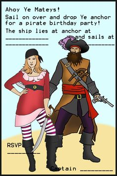 Pirate girl and pirate invitation
