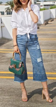 Fabulous Tie Front #white #shirts Pearl Embellished Crop #jeans #highheels And Gorgeous #handbags #summer #summeroutfits #womenfashion #summerstyle