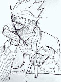 Kakashi Drawing, Naruto Sketch Drawing, Naruto Drawings, Anime Drawings Sketches, Anime Sketch, Naruto Kakashi, Fnaf Anime, Naruto Shippudden, Haikyuu Anime