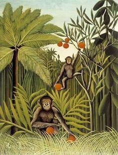 Henri Rousseau.  Monkey Jungle.