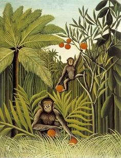 Henri Rousseau.  Monkey Jungle.