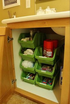 Stacking Plastic Bins Under Bathroom Cabinet. These stacking containers from the Dollar Tree stack vertically very well. You can even clearly see what is in the bins without labeling these organizers. http://hative.com/creative-under-sink-storage-ideas/