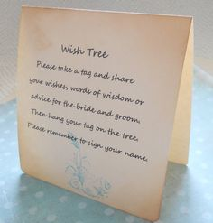 Wish card instruction sign wedding wish tree by PiccadillyStation, $4.00