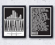 Woody Allen  - Manhattan Poster Set! original bestplayever prints - Diane Keaton Manhattan nyc