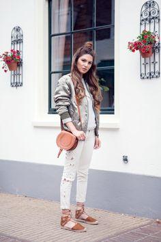 Blogger Style |Negin Mirsalehi: khaki green bomber jacket x white shirt x white ripped denim x aquazzura flats x chloé marcie bag