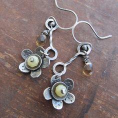 Silver Dangling Earrings Funky Long Flower Stamped Silver by artdi
