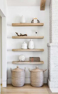 California Home Interior Design Ideas : Floating Shelves Fireplace wood shelves Reclaimed wood floating shelves complement the ceiling beams Floating wood shelves Reclaimed wood floating Reclaimed Wood Floating Shelves, Floating Shelf Decor, Modern Floating Shelves, Floating Shelves Bedroom, Shelf Inspiration, Fireplace Shelves, Young House Love, Spring Home Decor, Aesthetic Room Decor