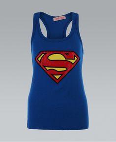 KRISP Racer Back Blue Superman Print Vest T-shirt - KRISP from Krisp Clothing UK