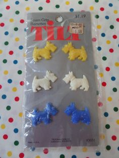 Scottie Dog Barrettes Set of 6 Original by OurVintageFavorites