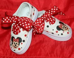 Girl's Custom Painted Tennis Shoes MINNIE MOUSE by paintmama, $65.00