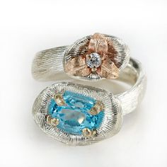 Topaz ring, blue topaz ring, london blue topaz, silver ring, silver and gold ring,gemstone ring, engagement ring