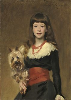 An oil painting of a girl and dog by the artist John Singer Sargent is also important in the novel. Here is Sargent's portrait of Miss Beatrice Townsend with her beloved pet.