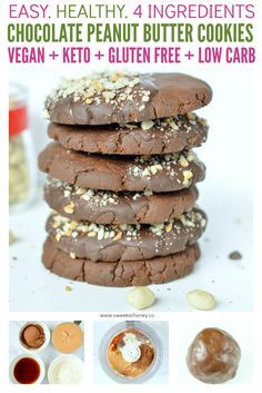 Vegan Chocolate Peanut Butter Cookies are healthy coconut flour vegan cookies with a shortbread crunchy and sandy texture made with only 4 ingredients. #vegan #shortbread #lowcarb #keto #cookies