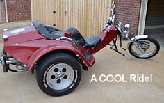 Cool Custom VW Trike: This VW trike is ONE COOL RIDE! It's got 1700 cc's of power PLUS a 4 speed transmission with reverse, a Pat Kennedy Adjustable Front End, New Harley Disc