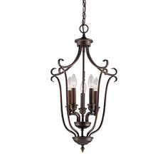 The Millennium Lighting Fulton 5-light foyer light brings stylish light to any room. Features open design and rubbed bronze finish.